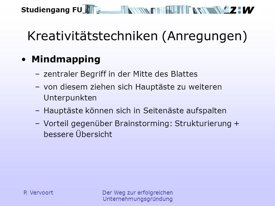 Studiengang FU P. VervoortDer Weg zur erfolgreichen Unternehmungsgründung Kreativitätstechniken (Anregungen) Mindmapping –zentraler Begriff in der Mit