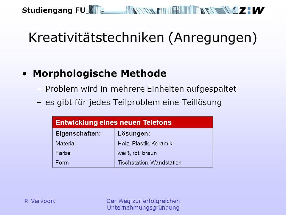 Studiengang FU P. VervoortDer Weg zur erfolgreichen Unternehmungsgründung Kreativitätstechniken (Anregungen) Morphologische Methode –Problem wird in m