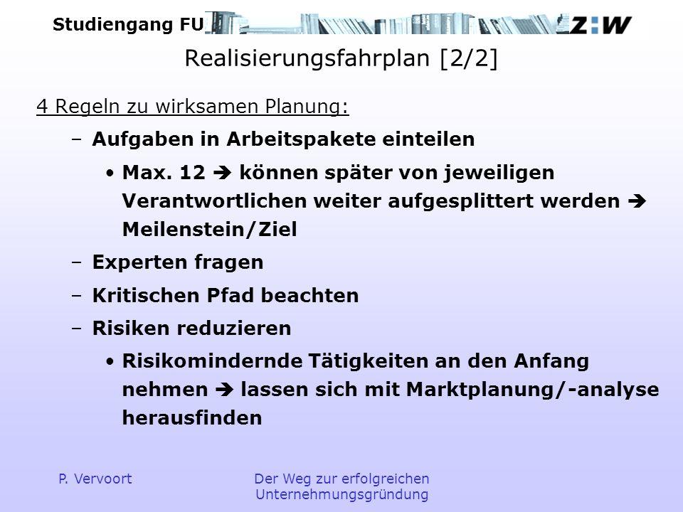 Studiengang FU P. VervoortDer Weg zur erfolgreichen Unternehmungsgründung Realisierungsfahrplan [2/2] 4 Regeln zu wirksamen Planung: –Aufgaben in Arbe