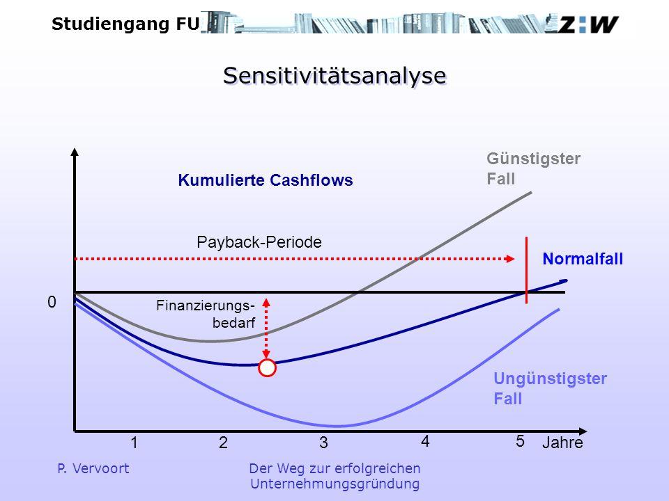 Studiengang FU P. VervoortDer Weg zur erfolgreichen Unternehmungsgründung Sensitivitätsanalyse Ungünstigster Fall Normalfall Günstigster Fall Finanzie