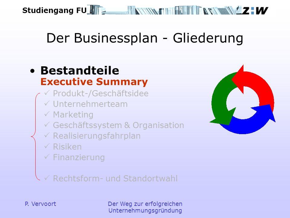 Studiengang FU P. VervoortDer Weg zur erfolgreichen Unternehmungsgründung Der Businessplan - Gliederung Bestandteile Executive Summary Produkt-/Geschä