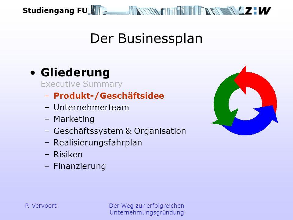Studiengang FU P. VervoortDer Weg zur erfolgreichen Unternehmungsgründung Der Businessplan Gliederung Executive Summary –Produkt-/Geschäftsidee –Unter