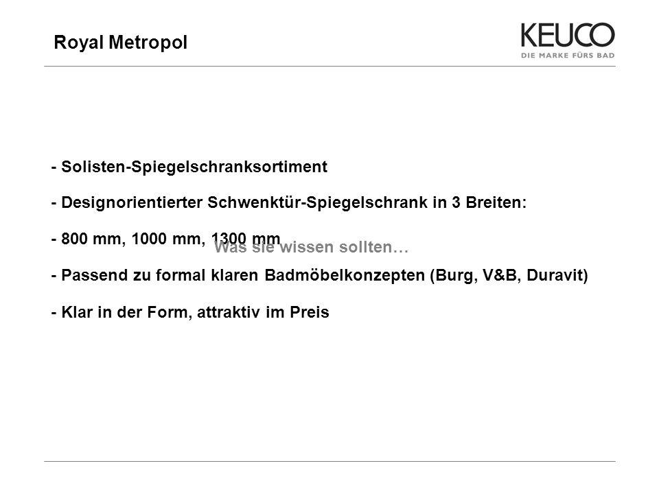 Royal Metropol 5 - Solisten-Spiegelschranksortiment - Designorientierter Schwenktür-Spiegelschrank in 3 Breiten: - 800 mm, 1000 mm, 1300 mm - Passend