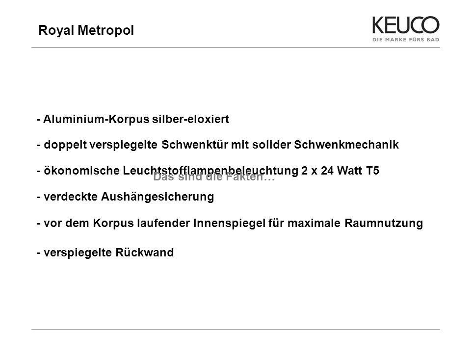Royal Metropol 6 - Aluminium-Korpus silber-eloxiert - doppelt verspiegelte Schwenktür mit solider Schwenkmechanik - ökonomische Leuchtstofflampenbeleu