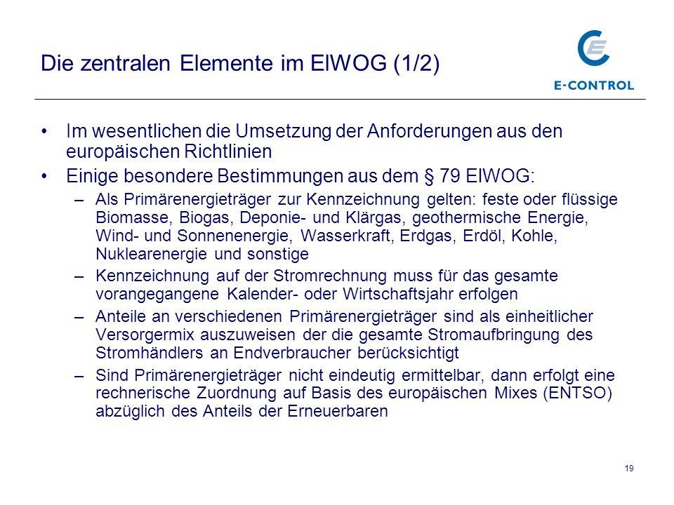 19 Die zentralen Elemente im ElWOG (1/2) Im wesentlichen die Umsetzung der Anforderungen aus den europäischen Richtlinien Einige besondere Bestimmungen aus dem § 79 ElWOG: –Als Primärenergieträger zur Kennzeichnung gelten: feste oder flüssige Biomasse, Biogas, Deponie- und Klärgas, geothermische Energie, Wind- und Sonnenenergie, Wasserkraft, Erdgas, Erdöl, Kohle, Nuklearenergie und sonstige –Kennzeichnung auf der Stromrechnung muss für das gesamte vorangegangene Kalender- oder Wirtschaftsjahr erfolgen –Anteile an verschiedenen Primärenergieträger sind als einheitlicher Versorgermix auszuweisen der die gesamte Stromaufbringung des Stromhändlers an Endverbraucher berücksichtigt –Sind Primärenergieträger nicht eindeutig ermittelbar, dann erfolgt eine rechnerische Zuordnung auf Basis des europäischen Mixes (ENTSO) abzüglich des Anteils der Erneuerbaren