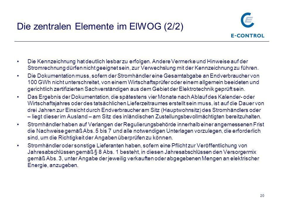 20 Die zentralen Elemente im ElWOG (2/2) Die Kennzeichnung hat deutlich lesbar zu erfolgen.