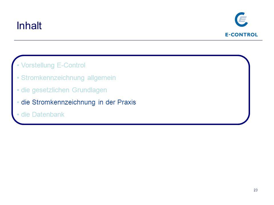 23 Inhalt Vorstellung E-Control Stromkennzeichnung allgemein die gesetzlichen Grundlagen die Stromkennzeichnung in der Praxis die Datenbank
