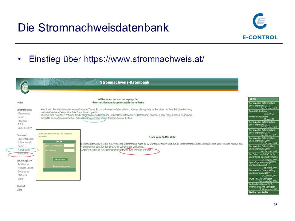 36 Die Stromnachweisdatenbank Einstieg über https://www.stromnachweis.at/