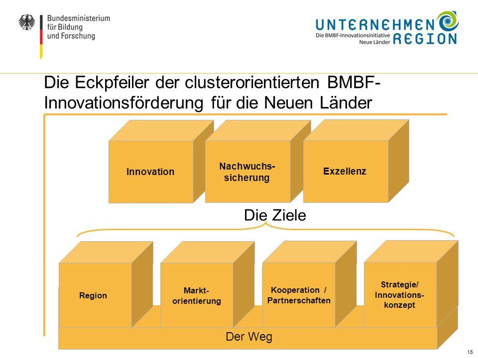 15 Ausgangslage / Handlungsbedarf (II) Die Eckpfeiler der clusterorientierten BMBF- Innovationsförderung für die Neuen Länder Innovation Nachwuchs- si