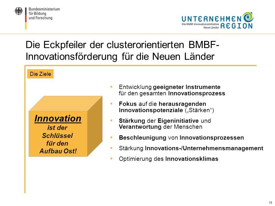 16 Die Eckpfeiler der clusterorientierten BMBF- Innovationsförderung für die Neuen Länder Entwicklung geeigneter Instrumente für den gesamten Innovati