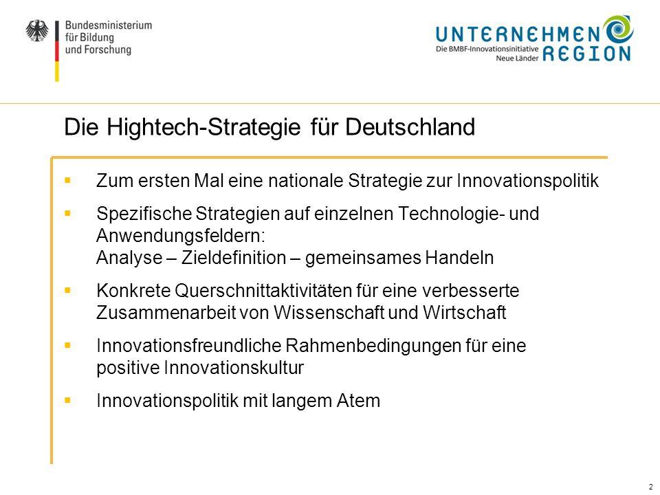 2 Zum ersten Mal eine nationale Strategie zur Innovationspolitik Spezifische Strategien auf einzelnen Technologie- und Anwendungsfeldern: Analyse – Zi
