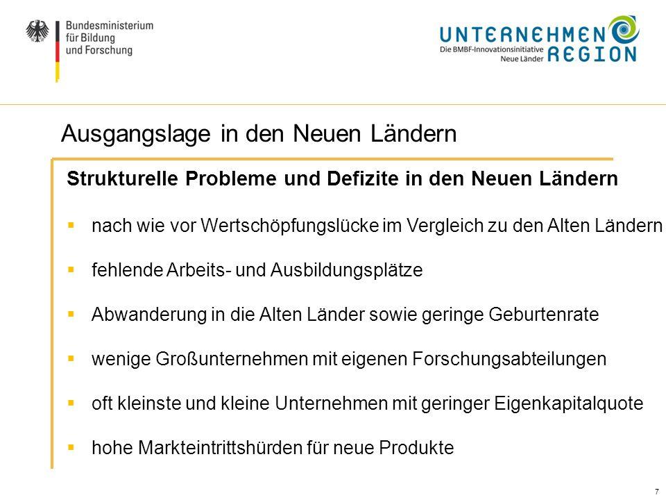 7 7 Ausgangslage / Handlungsbedarf (II) Strukturelle Probleme und Defizite in den Neuen Ländern nach wie vor Wertschöpfungslücke im Vergleich zu den A