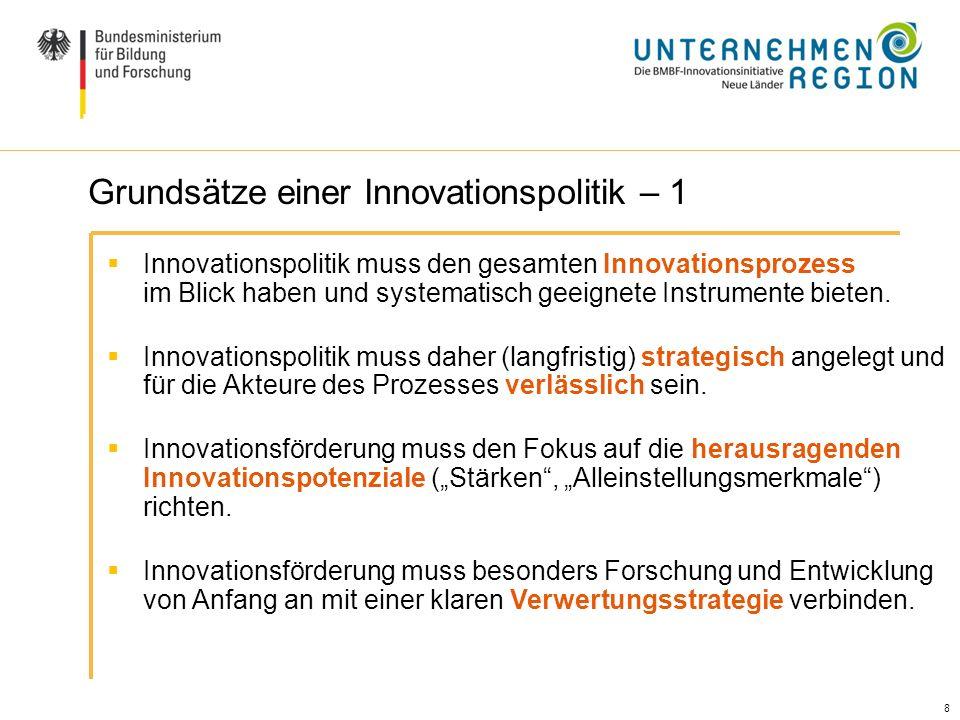 8 8 Ausgangslage / Handlungsbedarf (II) Innovationspolitik muss den gesamten Innovationsprozess im Blick haben und systematisch geeignete Instrumente