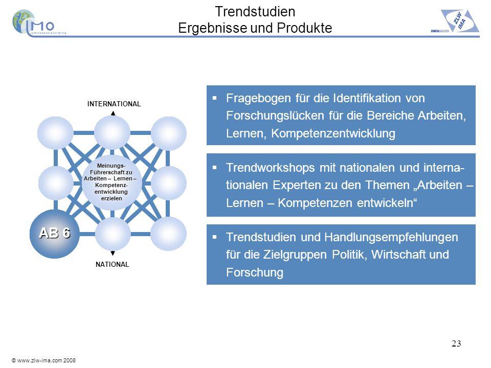 © www.zlw-ima.com 2008 23 Trendstudien Ergebnisse und Produkte Fragebogen für die Identifikation von Forschungslücken für die Bereiche Arbeiten, Lerne