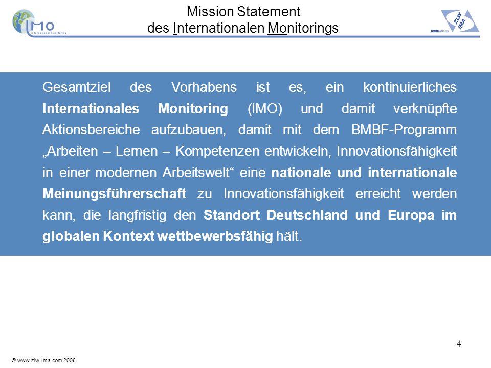 © www.zlw-ima.com 2008 4 Gesamtziel des Vorhabens ist es, ein kontinuierliches Internationales Monitoring (IMO) und damit verknüpfte Aktionsbereiche a