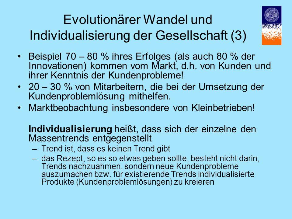 Evolutionärer Wandel und Individualisierung der Gesellschaft (3) Beispiel 70 – 80 % ihres Erfolges (als auch 80 % der Innovationen) kommen vom Markt, d.h.