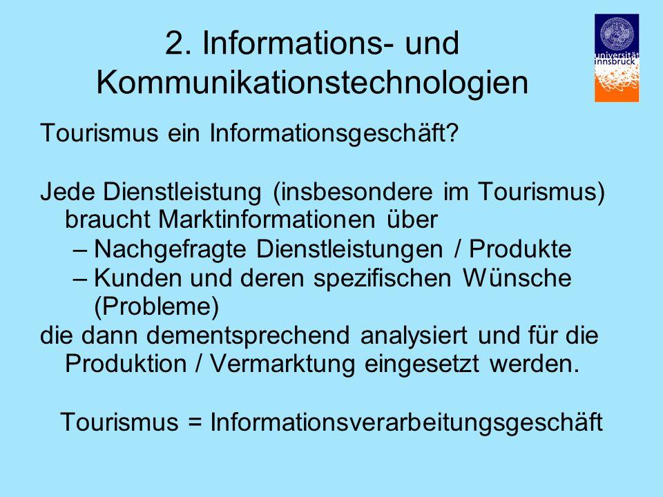 2.Informations- und Kommunikationstechnologien Tourismus ein Informationsgeschäft.