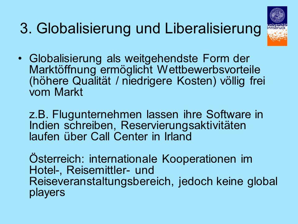 3. Globalisierung und Liberalisierung Globalisierung als weitgehendste Form der Marktöffnung ermöglicht Wettbewerbsvorteile (höhere Qualität / niedrig