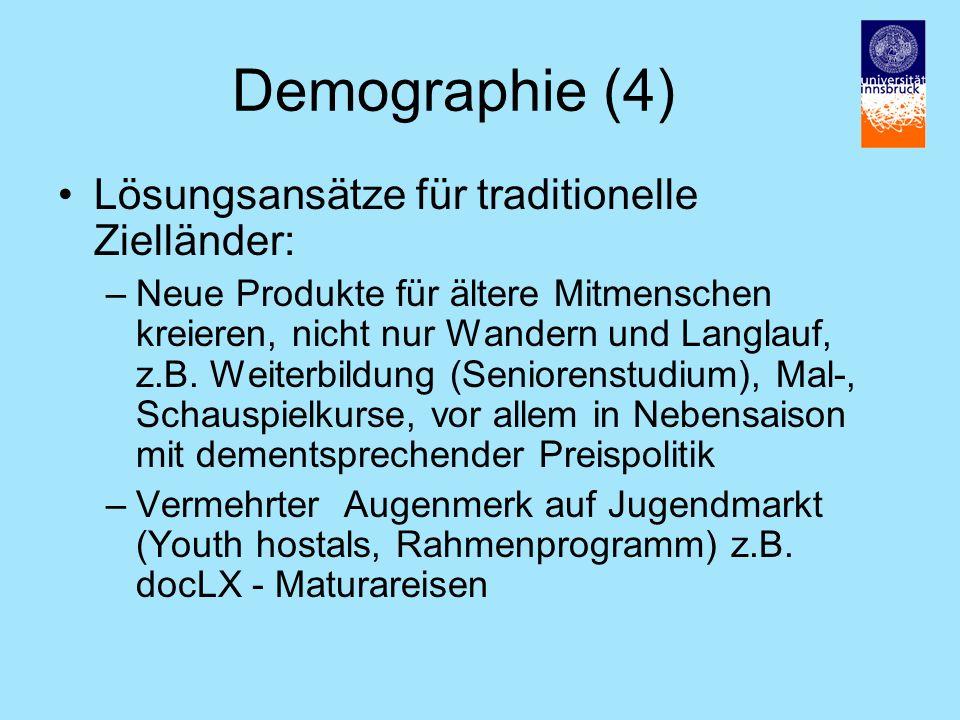 Demographie (4) Lösungsansätze für traditionelle Zielländer: –Neue Produkte für ältere Mitmenschen kreieren, nicht nur Wandern und Langlauf, z.B.