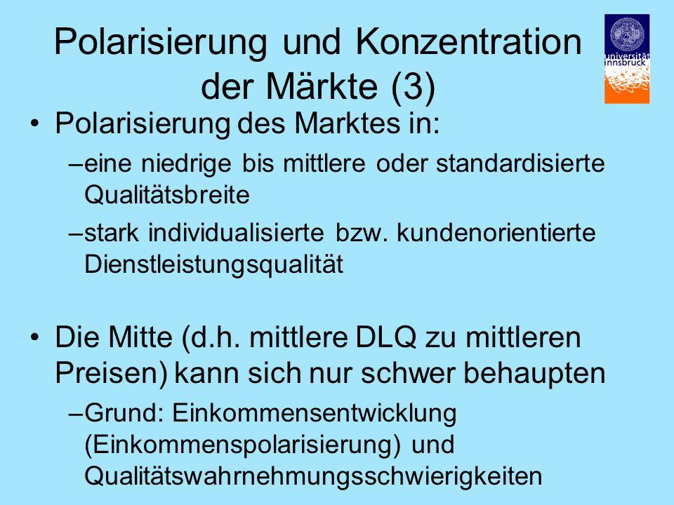 Polarisierung des Marktes in: –eine niedrige bis mittlere oder standardisierte Qualitätsbreite –stark individualisierte bzw.