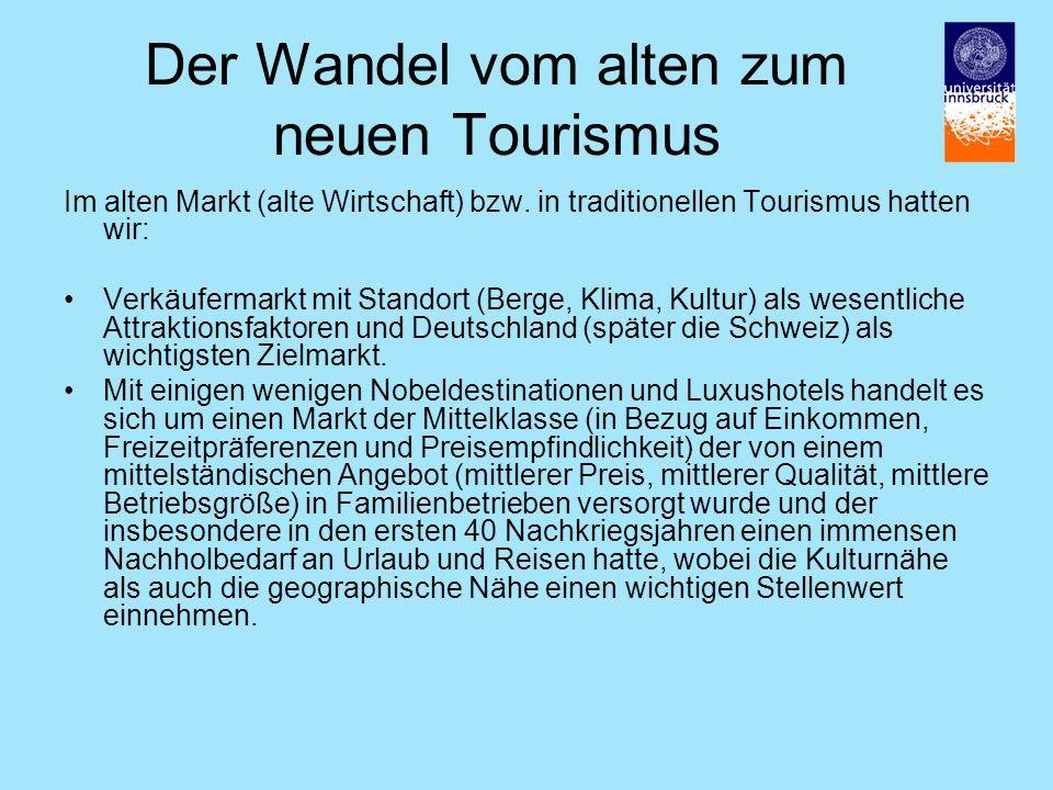 Der Wandel vom alten zum neuen Tourismus Im alten Markt (alte Wirtschaft) bzw.