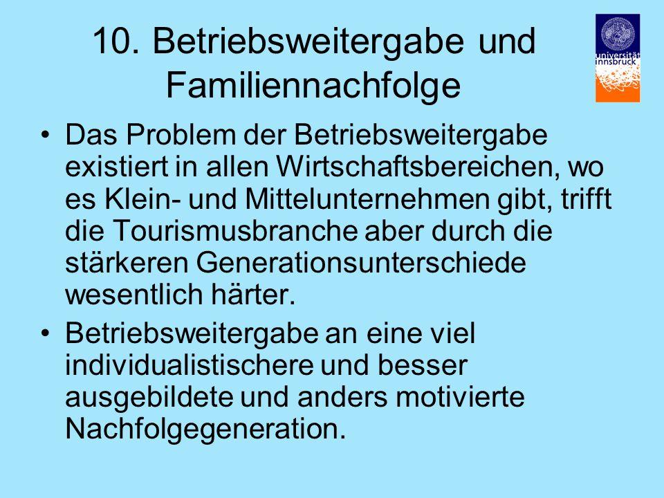 10. Betriebsweitergabe und Familiennachfolge Das Problem der Betriebsweitergabe existiert in allen Wirtschaftsbereichen, wo es Klein- und Mitteluntern