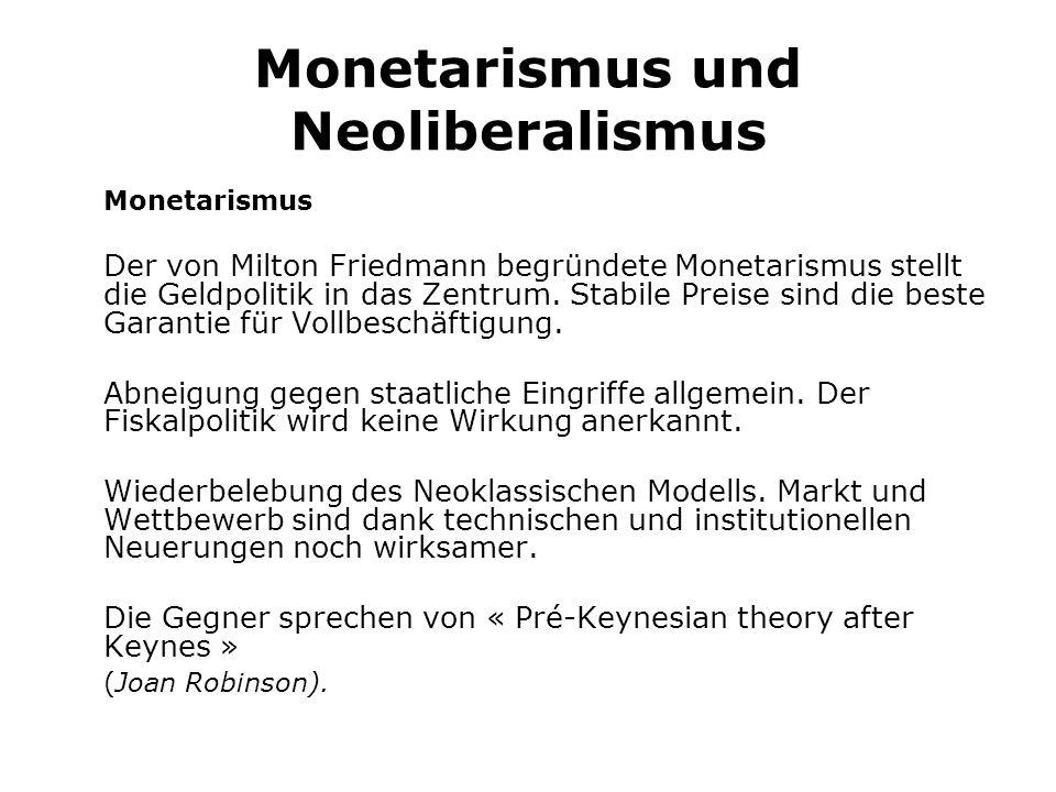 Monetarismus und Neoliberalismus Monetarismus Der von Milton Friedmann begründete Monetarismus stellt die Geldpolitik in das Zentrum.