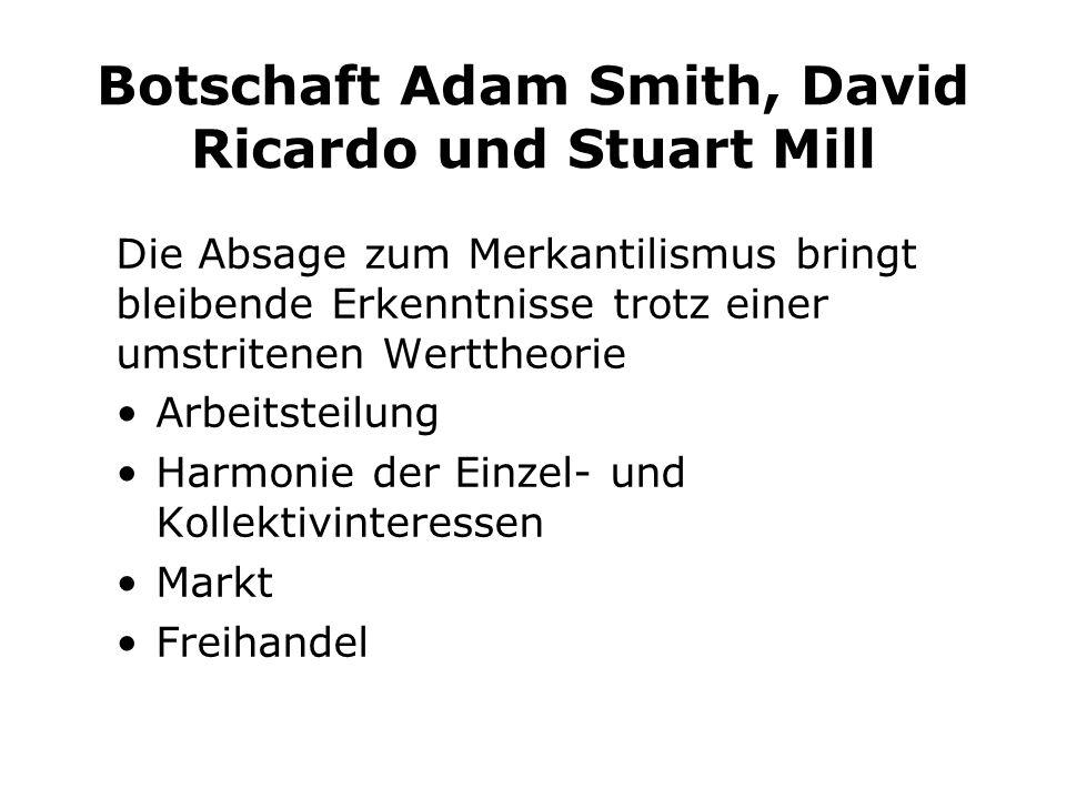 Botschaft Adam Smith, David Ricardo und Stuart Mill Die Absage zum Merkantilismus bringt bleibende Erkenntnisse trotz einer umstritenen Werttheorie Arbeitsteilung Harmonie der Einzel- und Kollektivinteressen Markt Freihandel
