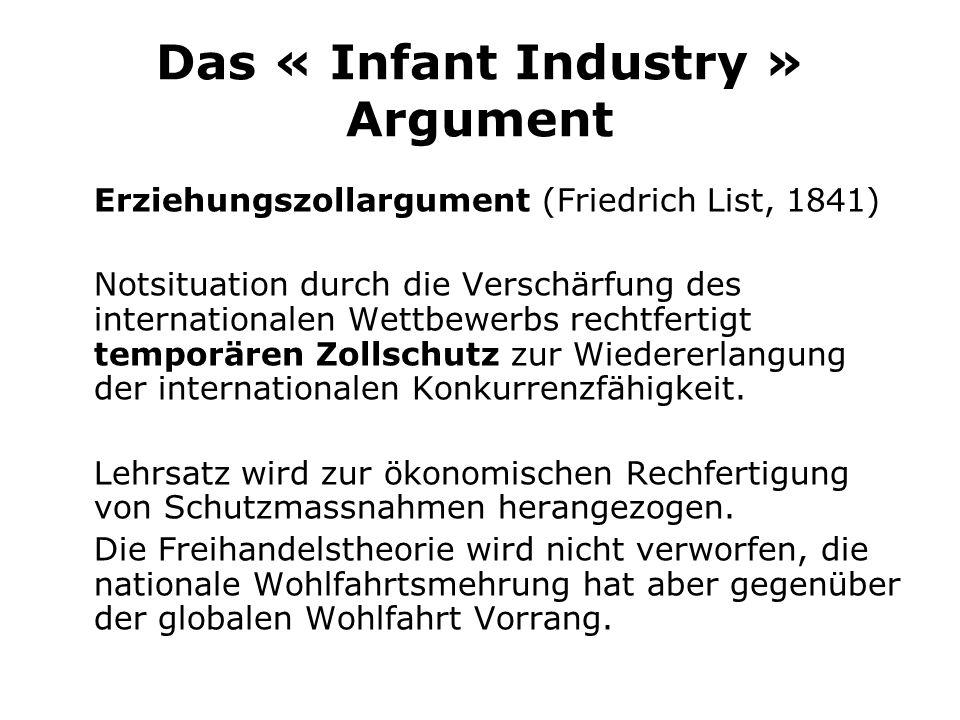 Das « Infant Industry » Argument Erziehungszollargument (Friedrich List, 1841) Notsituation durch die Verschärfung des internationalen Wettbewerbs rechtfertigt temporären Zollschutz zur Wiedererlangung der internationalen Konkurrenzfähigkeit.