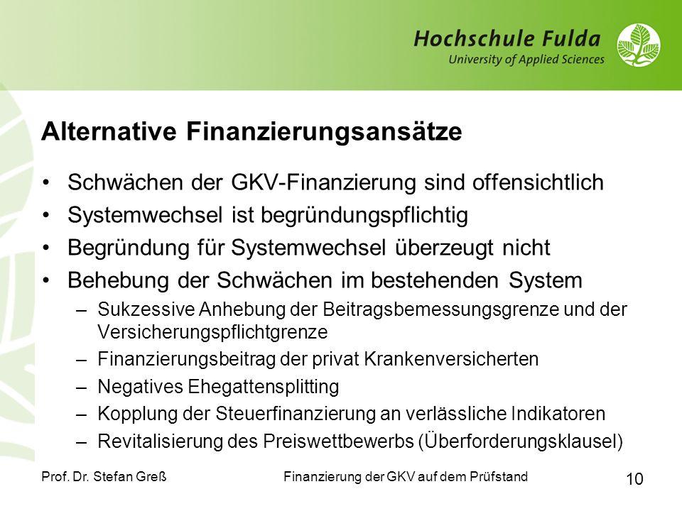 Finanzierung der GKV auf dem Prüfstand Prof. Dr. Stefan Greß 10 Alternative Finanzierungsansätze Schwächen der GKV-Finanzierung sind offensichtlich Sy