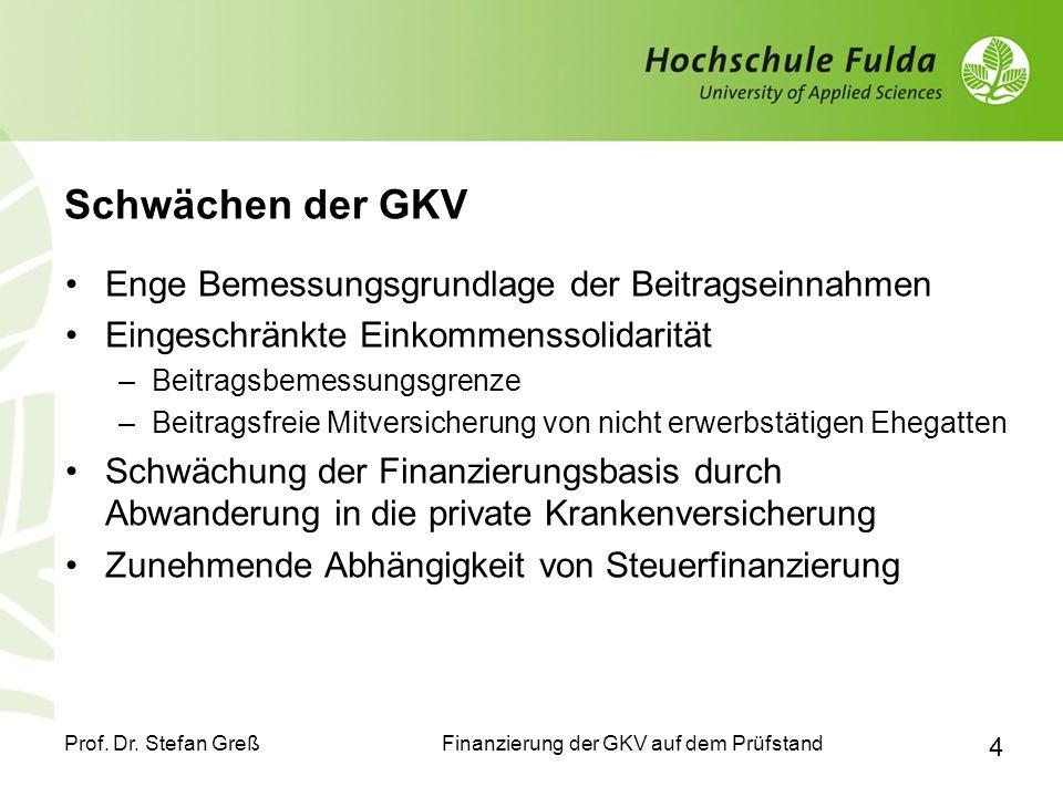 Finanzierung der GKV auf dem Prüfstand Prof. Dr. Stefan Greß 4 Schwächen der GKV Enge Bemessungsgrundlage der Beitragseinnahmen Eingeschränkte Einkomm