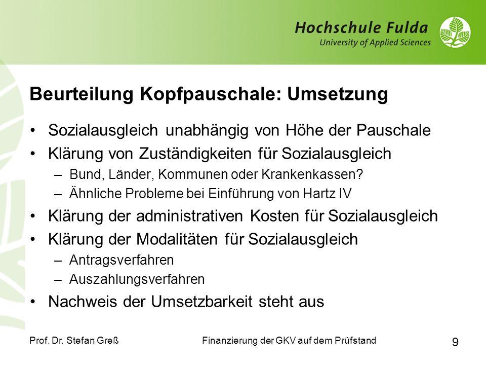 Finanzierung der GKV auf dem Prüfstand Prof. Dr. Stefan Greß 9 Beurteilung Kopfpauschale: Umsetzung Sozialausgleich unabhängig von Höhe der Pauschale