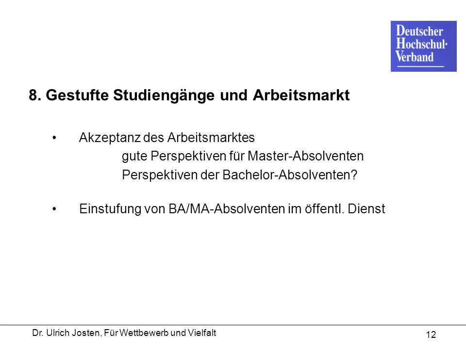 Dr. Ulrich Josten, Für Wettbewerb und Vielfalt 12 8. Gestufte Studiengänge und Arbeitsmarkt Akzeptanz des Arbeitsmarktes gute Perspektiven für Master-