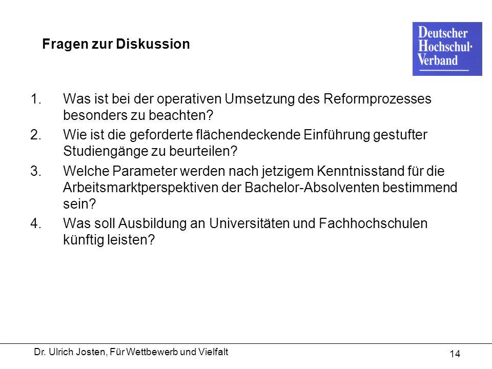 Dr. Ulrich Josten, Für Wettbewerb und Vielfalt 14 Fragen zur Diskussion 1.Was ist bei der operativen Umsetzung des Reformprozesses besonders zu beacht
