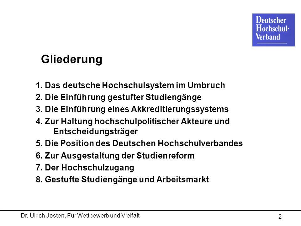 Dr. Ulrich Josten, Für Wettbewerb und Vielfalt 2 Gliederung 1. Das deutsche Hochschulsystem im Umbruch 2. Die Einführung gestufter Studiengänge 3. Die