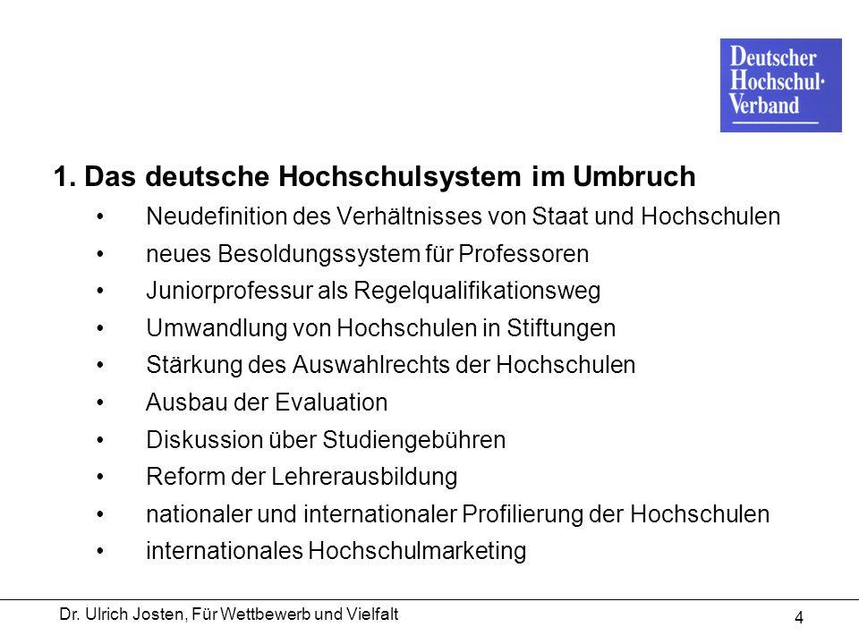 Dr. Ulrich Josten, Für Wettbewerb und Vielfalt 4 1. Das deutsche Hochschulsystem im Umbruch Neudefinition des Verhältnisses von Staat und Hochschulen