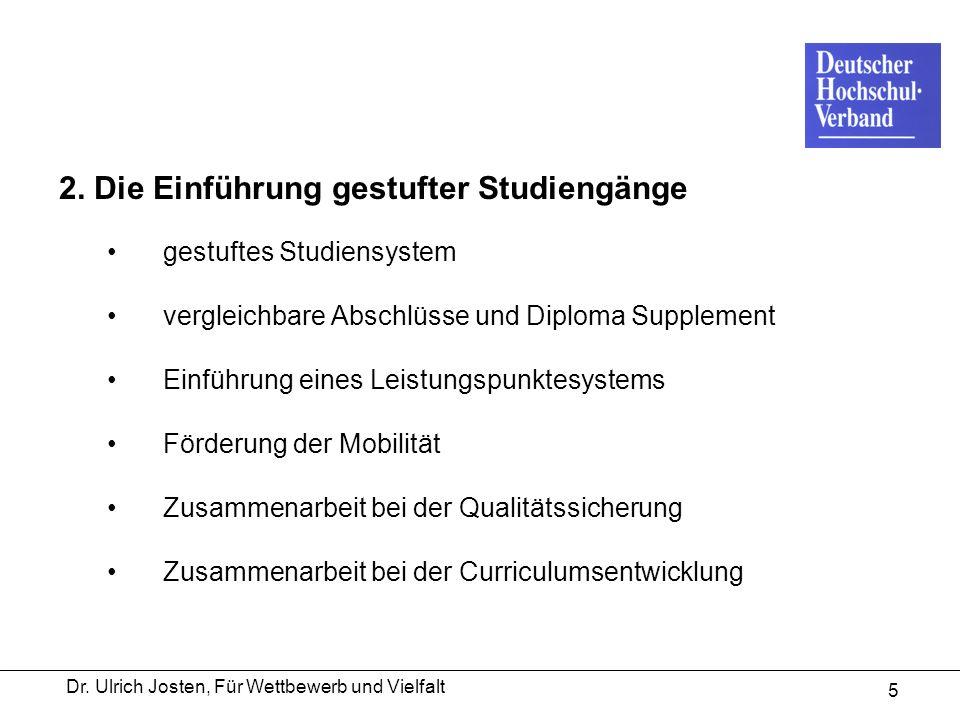 Dr. Ulrich Josten, Für Wettbewerb und Vielfalt 5 2. Die Einführung gestufter Studiengänge gestuftes Studiensystem vergleichbare Abschlüsse und Diploma