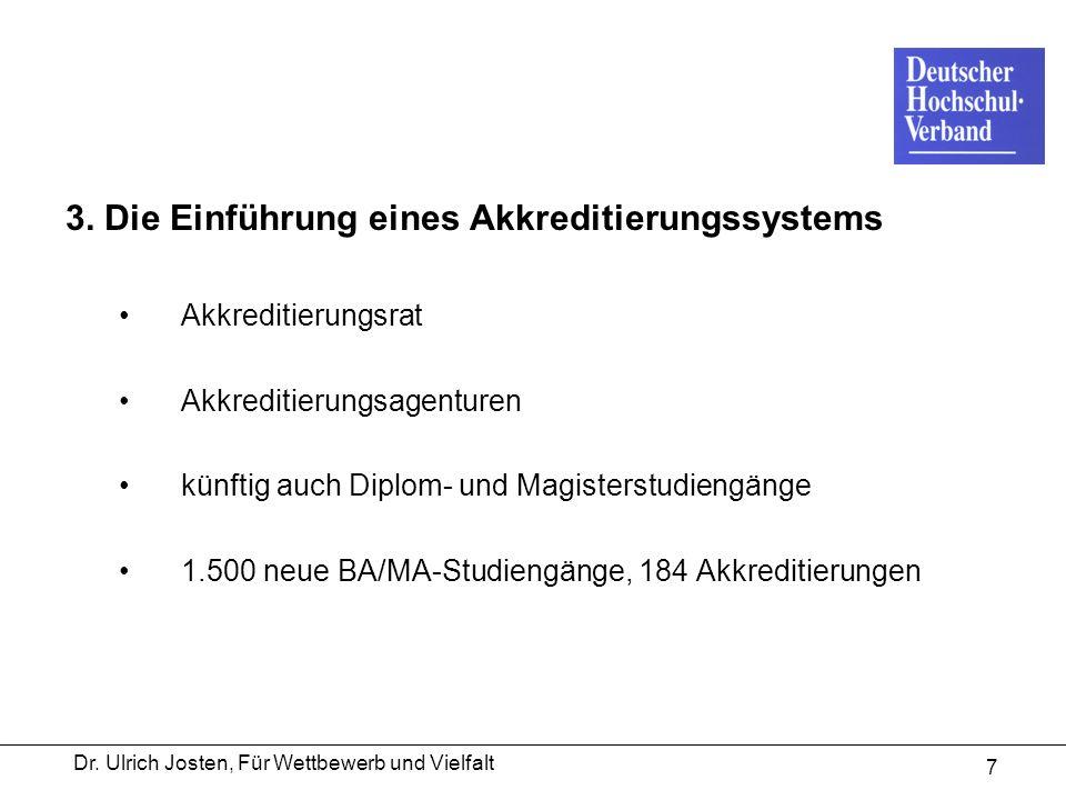 Dr. Ulrich Josten, Für Wettbewerb und Vielfalt 7 3. Die Einführung eines Akkreditierungssystems Akkreditierungsrat Akkreditierungsagenturen künftig au