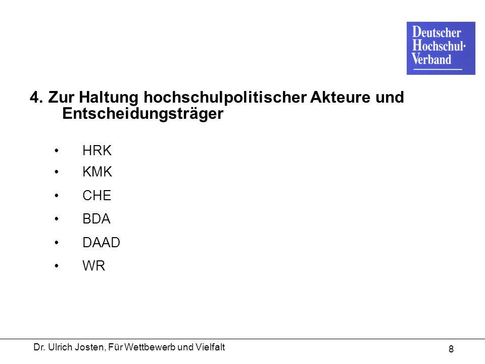 Dr. Ulrich Josten, Für Wettbewerb und Vielfalt 8 4. Zur Haltung hochschulpolitischer Akteure und Entscheidungsträger HRK KMK CHE BDA DAAD WR