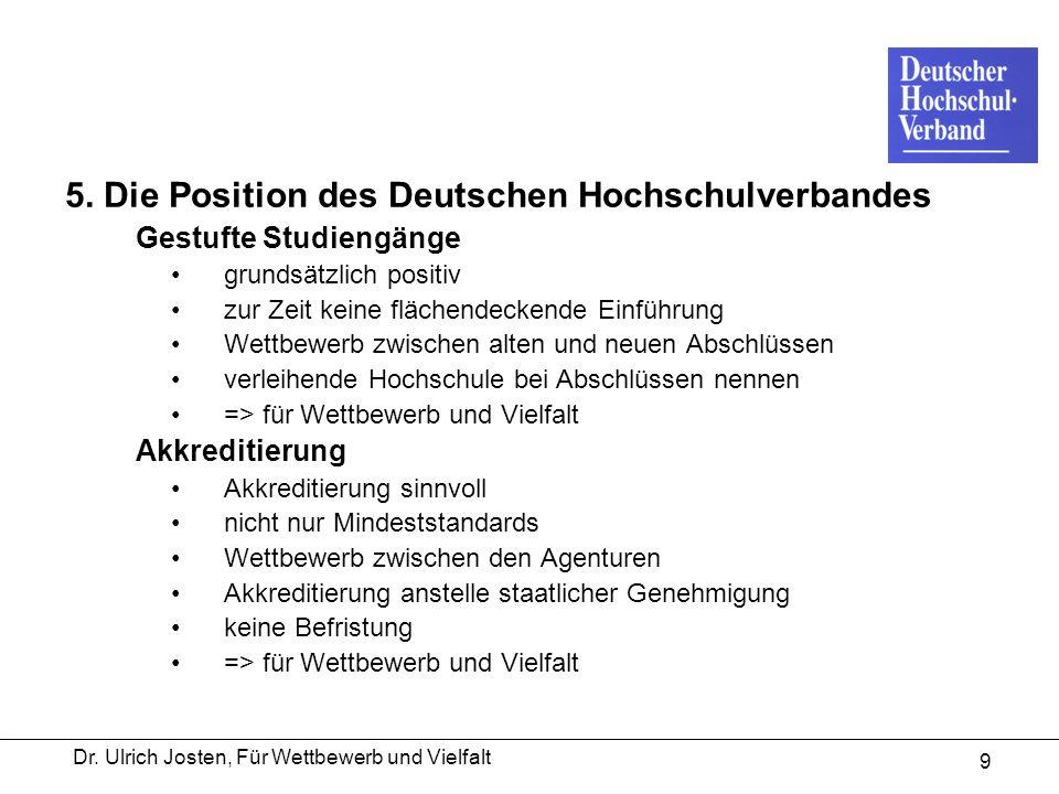 Dr. Ulrich Josten, Für Wettbewerb und Vielfalt 9 5. Die Position des Deutschen Hochschulverbandes Gestufte Studiengänge grundsätzlich positiv zur Zeit