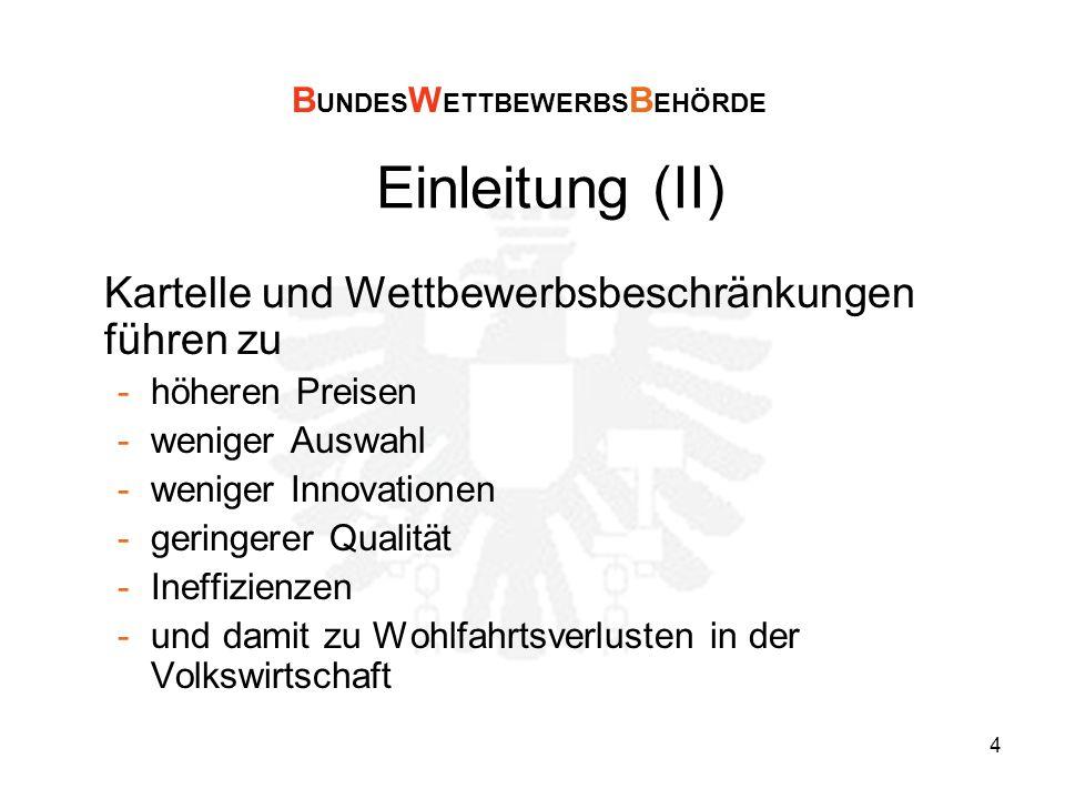 4 Einleitung (II) Kartelle und Wettbewerbsbeschränkungen führen zu -höheren Preisen -weniger Auswahl -weniger Innovationen -geringerer Qualität -Ineffizienzen -und damit zu Wohlfahrtsverlusten in der Volkswirtschaft B UNDES W ETTBEWERBS B EHÖRDE