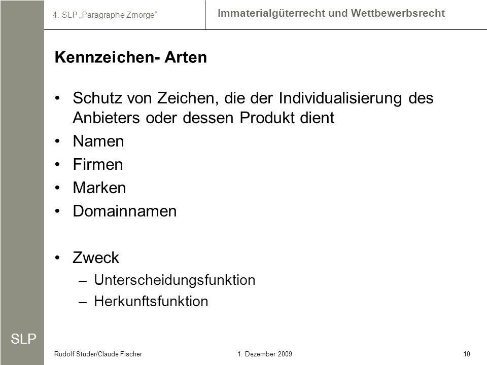 SLP Immaterialgüterrecht und Wettbewerbsrecht 4. SLP Paragraphe Zmorge 101. Dezember 2009Rudolf Studer/Claude Fischer Schutz von Zeichen, die der Indi