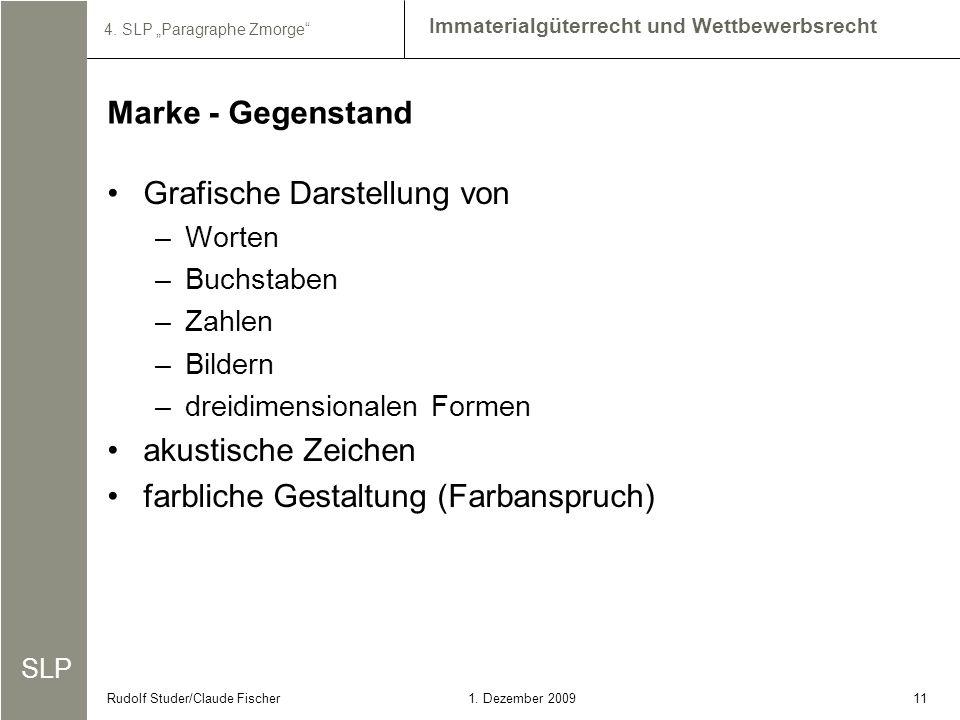 SLP Immaterialgüterrecht und Wettbewerbsrecht 4. SLP Paragraphe Zmorge 111. Dezember 2009Rudolf Studer/Claude Fischer Grafische Darstellung von –Worte