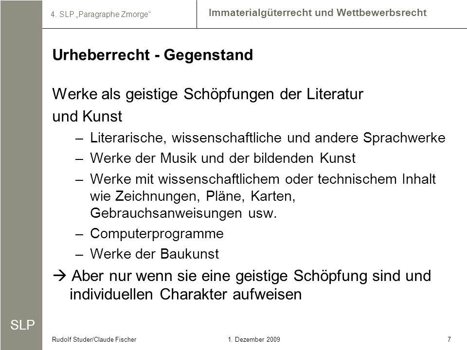 SLP Immaterialgüterrecht und Wettbewerbsrecht 4.SLP Paragraphe Zmorge 81.