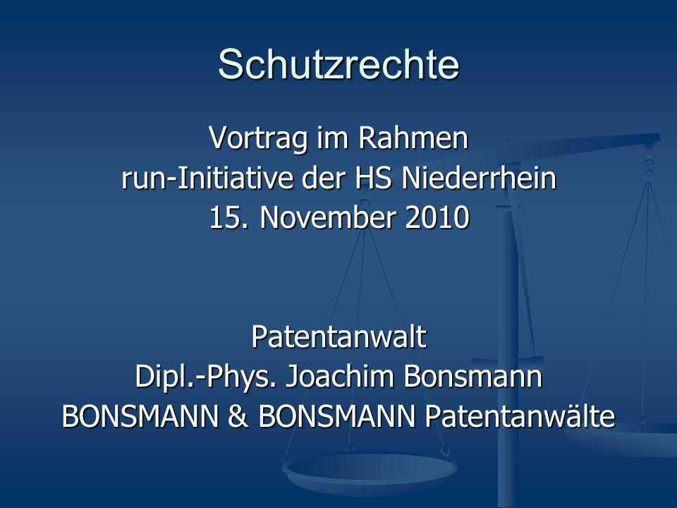 Schutzrechte Vortrag im Rahmen run-Initiative der HS Niederrhein 15.
