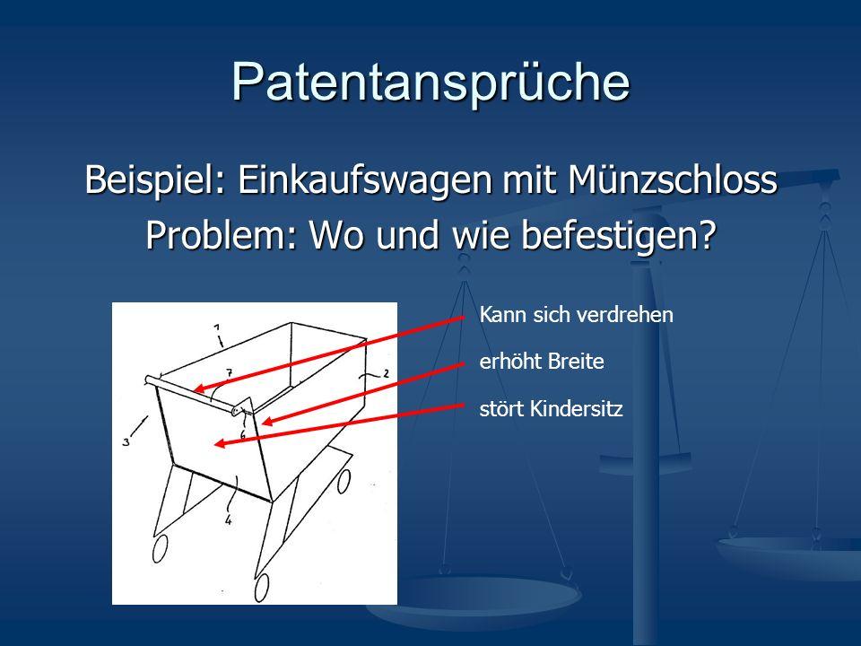 Patentansprüche Beispiel: Einkaufswagen mit Münzschloss Problem: Wo und wie befestigen.