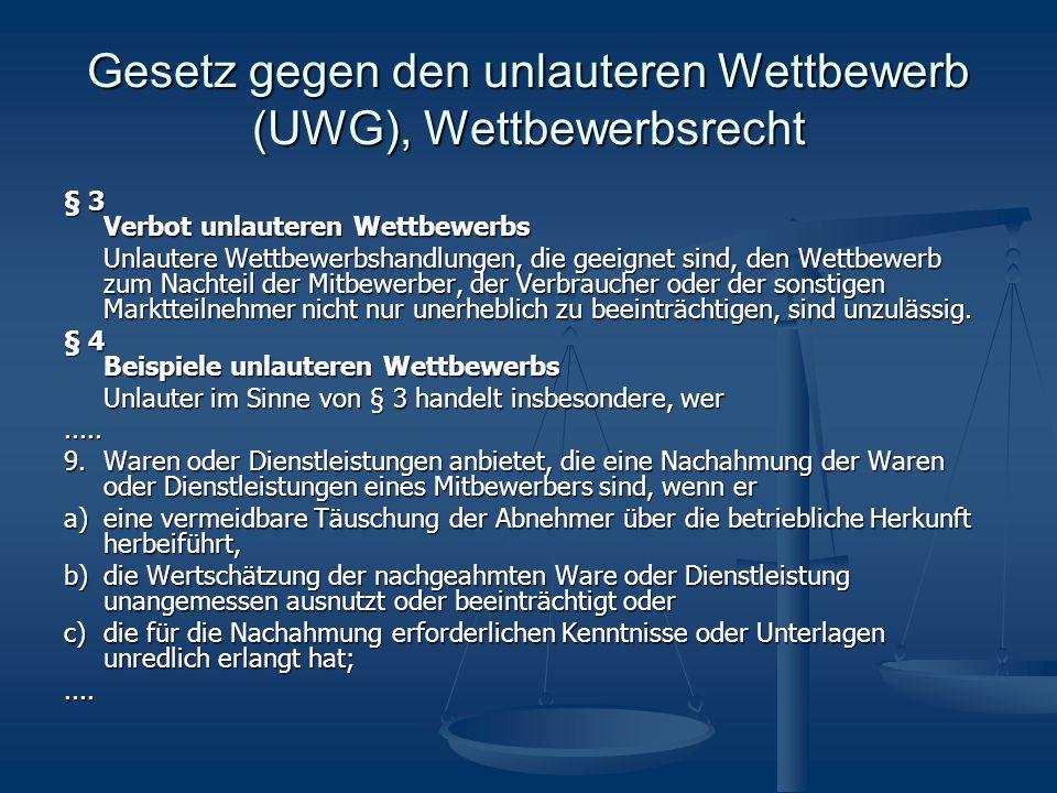 Gesetz gegen den unlauteren Wettbewerb (UWG), Wettbewerbsrecht § 3 Verbot unlauteren Wettbewerbs Unlautere Wettbewerbshandlungen, die geeignet sind, den Wettbewerb zum Nachteil der Mitbewerber, der Verbraucher oder der sonstigen Marktteilnehmer nicht nur unerheblich zu beeinträchtigen, sind unzulässig.