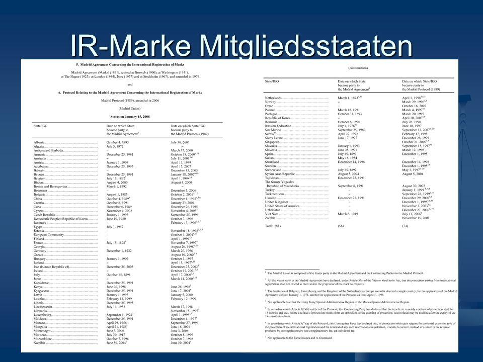 IR-Marke Mitgliedsstaaten