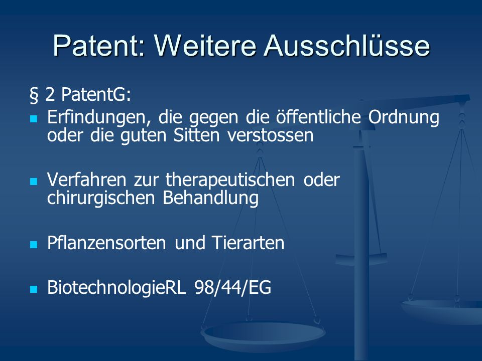 Patent: Wirkung §9 PatG:Das Patent hat die Wirkung, dass allein der Patentinhaber befugt ist, die patentierte Erfindung zu benutzen.