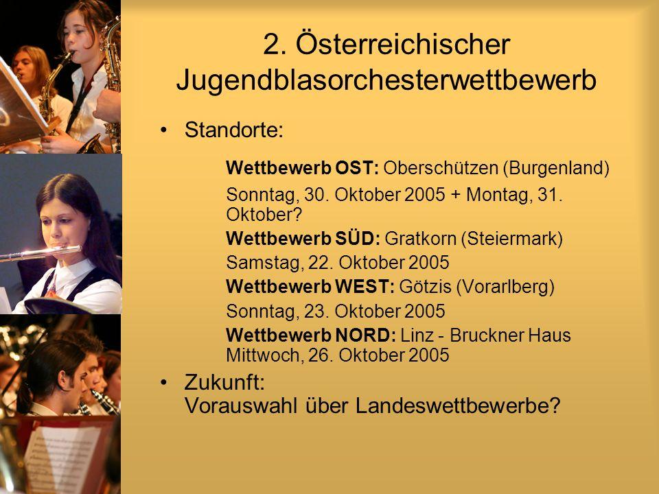 2. Österreichischer Jugendblasorchesterwettbewerb Standorte: Wettbewerb OST: Oberschützen (Burgenland) Sonntag, 30. Oktober 2005 + Montag, 31. Oktober